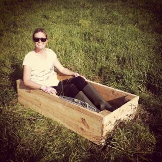 Testing the strength of the herbal tea raised bed.