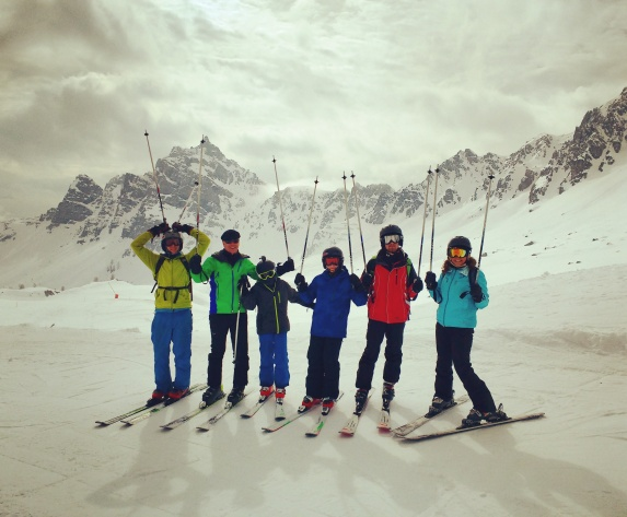Guest ski day, right before a difficult descent of the Marmolada!