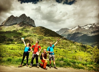 Guida....the Pyrenees team on their first walk at Punta Del Pacino