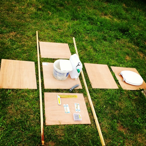 Firstly we had to set out all the materials we had gathered to build the box and construct the inner workings of the loo.