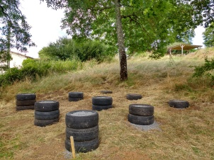 The nine-tyre foundation completed.