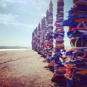 Prayer totems on Olkhon