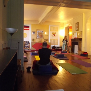 Preparing for morning Vinyasa Yoga