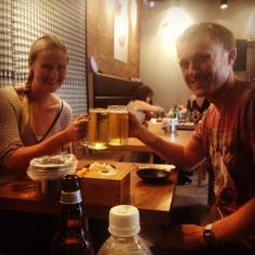 Cheers - a cold beer and lovely food in our destination city; Seoul.