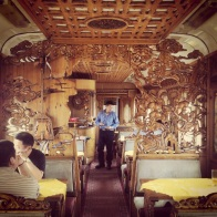 The outstanding restaurant carriage on the Mongolian train