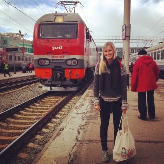 Waiting on a cold platform at Omsk