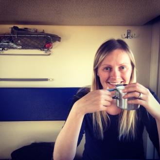 Enjoying a cuppa from the samovar