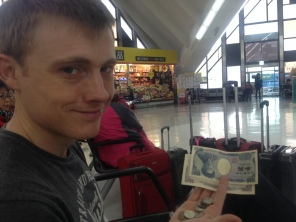 Swapping currency at the port in Busan, ROK ready to take the hydrofoil over to Fukuoka, Japan.