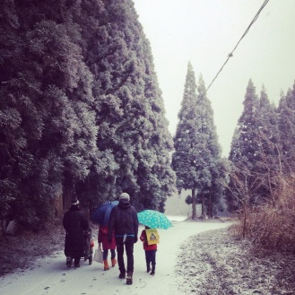 Walking to the school bus in the snow