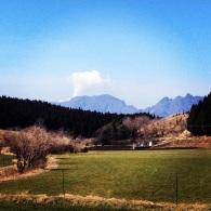 The Aso volcano spouting ash