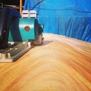 Sanding planks....