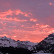 Sunset over the Marmolada and Sella Massif