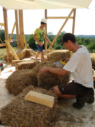 Notching some bales in brutal heat.