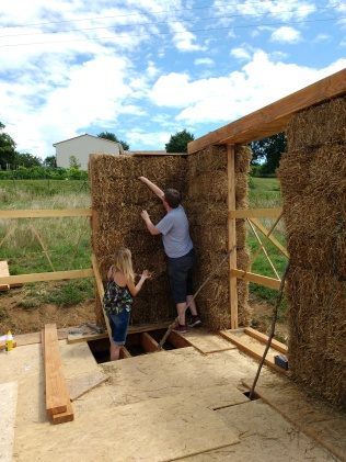 Surprise visitors helped out with stuffing of the walls, filling any gaps or thermal bridges.