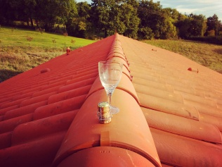 Not quite a bottle breaking (why waste the good stuff?!) but certainly our version of a topping out ceremony.