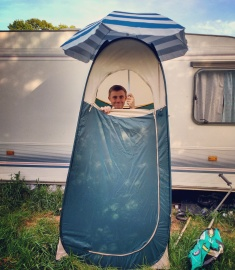 Our toilet tent didn't come with a roof...time to improvise.