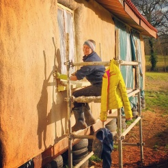 Loving the winter sunshine whilst I put on the key coat of render around one of the front windows