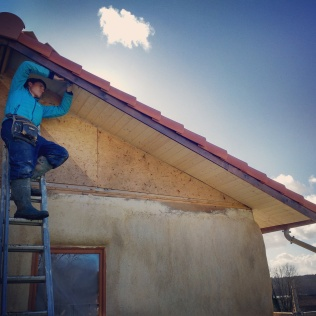 Attaching the soffit wood - such a satisfying job!