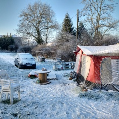 Waking up to a winter wonderland, even the windows inside the caravan had ice on them.