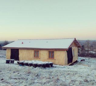 Work progressed on the house during the winter despite sub-zero temperatures