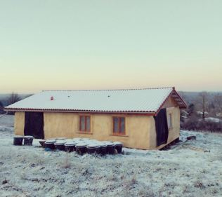 Work progressed on the house during the winter despite sub-zero temperatures