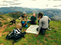 A spot of map reading work at the top of Pico Jano