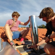 Working on the outside chimney